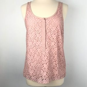 J Crew Blush Pink Sleeveless Women's Lace blouse